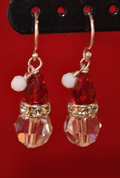 Santa Hat Earrings by TracySchoenley on Etsy, $25.00