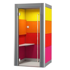 Spacio Office Phone Booth is a single person acoustic pod for private calls, skype calls or telephone interview. Spacio phone booth can be customised with a choice of fabric colours and frame colour. Office Interior Design, Office Interiors, Office Pods, Acoustic Design, Telephone Booth, Hygge Home, Freedom Design, Workplace Design, Commercial Interiors