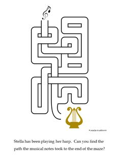 Stella has been playing the harp and the music has floated off in the air. An easy maze for those just starting out. Mazes For Kids, Math Activities For Kids, Free Printable Puzzles, Free Printables, Music Word Search, Dots And Boxes, Word Ladders, Maze Worksheet, Magic Squares