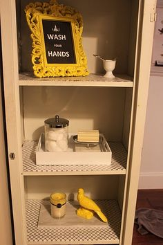 1000 images about grey yellow and sea foam bathroom on for Bathroom knick knacks