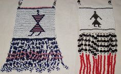 The keeper survives . The one on the left, in typical Thembu colours, features an ornate double loop fringe popular in the while the example on the right has a very untraditional red neckband and fringe Beady Eye, Xhosa, African Accessories, African Art, Beadwork, South Africa, Christmas Stockings, 1970s, Survival
