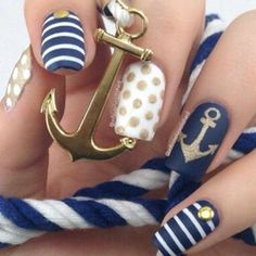 Nautical Nails, anchor, polkadot and stripes