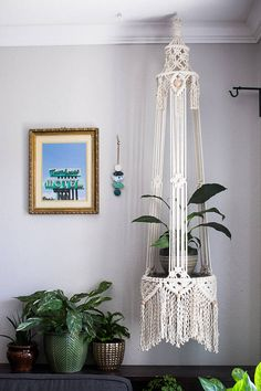Cotton Macrame Plant Hanger | Macrame table | Large Macrame FromAgnes