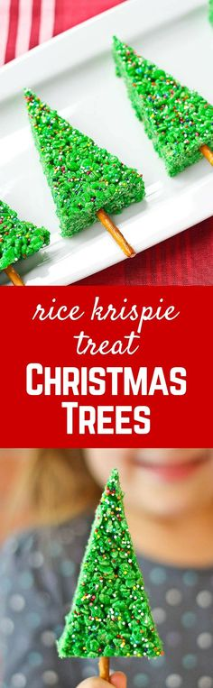 Christmas Tree Rice Krispie Treats are SO simple to make and kids adore the fun shape and color. If you're scrambling for a last minute holiday treat, these are it! Get the easy kid-friendly recipe on RachelCooks.com!