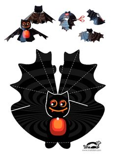 children activities, more than 2000 coloring pages Halloween Ornaments, Halloween Trees, Holidays Halloween, Halloween Crafts, Happy Halloween, Halloween Decorations, Halloween Party, Gato Origami, Diy And Crafts