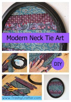 Modern Neck Tie Art   Trashy Craft #58 Recycled Craft Tutorial