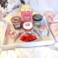 Film night idea | Popcorn, Ben & Jerry's, Nutella