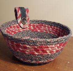 Christmas fabric bowl. There are some really good tutorials, which is how I learned to do this.