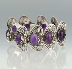Bracelet | Margot de Taxco.  Sterling Silver and Amethyst. ca 1948 - 1978