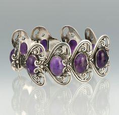 Bracelet   Margot de Taxco.  Sterling Silver and Amethyst. ca 1948 - 1978