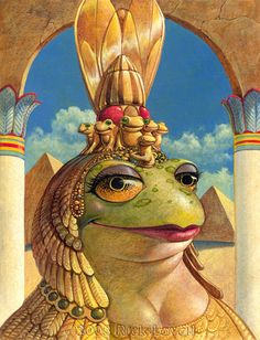 Cleopatra frog by Rick Lovell Funny Frogs, Cute Frogs, Frog Illustration, Frog Art, Frog And Toad, Creature Feature, Whimsical Art, Fantasy Creatures, Beautiful Creatures