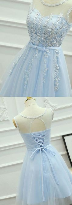light sky blue Homecoming Dresses,Cheap Short Homecoming Dresses,lace Homecoming Dress for teens