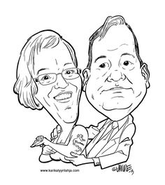 Funny wedding day gift - caricature.