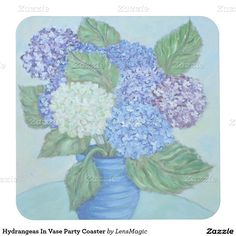 Hydrangeas In Vase Party Coaster Square Paper Coaster