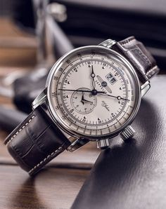 Amazon.com: Graf Zeppelin Dual Time Big Date 100 Years of Zeppelin Watch 7640-1: Watches
