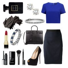 """Forever New Noelle Crop Top w/ Lanvin Pencil Skirt & Sapphires"" by harrietsandy ❤ liked on Polyvore featuring Forever New, Fantasia by DeSerio, Giuseppe Zanotti, Lanvin, Yves Saint Laurent, Blue Nile, Elizabeth Arden, Gucci, le top and Bobbi Brown Cosmetics"