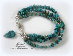 Turquoise Beauty  Three-strand bracelet.. by SurrealTreasures