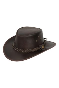 Lesa Collection Leather Outback Bush Hat Brown and Black with Free Chin Strap Leather Cowboy Hats, Leather Gloves, Cowboy And Cowgirl, Cowgirl Hats, Braids Band, Braided Leather, Cowhide Leather, Real Leather, Black And Brown