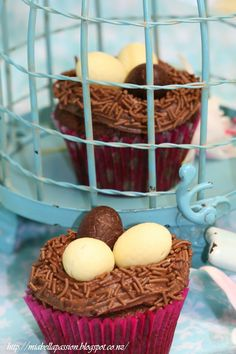 Mia Bella Passions: Triple Choc Easter Nest Cupcakes...