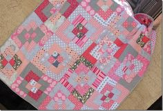 pink and gray baby quilt