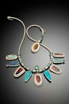 Jeanie Pratt - Society of North American Goldsmiths Enamel Jewelry, Metal Jewelry, Jewelry Art, Antique Jewelry, Silver Jewelry, Vintage Jewelry, Jewelry Design, Jewelry Necklaces, Designer Jewelry