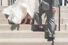 Red bridal shoes and groom's socks.   www.greenseedphotography.com