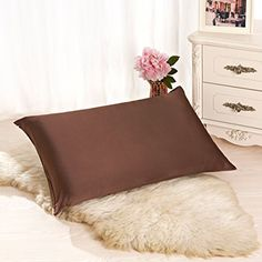 Kids' Pillowcases - ALASKA BEAR  Natural Silk Pillowcase Hypoallergenic 19 momme 600 thread count 100 percent Mulberry Silk Queen Size with hidden zipperCoffee brown ** Click on the image for additional details.