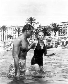 Cary Grant and Grace Kelly take a dip whilst filming To Catch A Thief