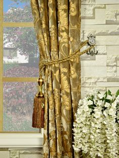 Hebe Regal Floral Damask Goblet Velvet Curtain Tassel Tiebacks Velvet Curtains, Damask, Tassel, Floral, Unique, Pattern, Home Decor, Decoration Home, Damascus