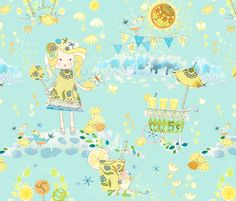 Louise's lemonade day fabric by designed_by_debby on Spoonflower - custom fabric