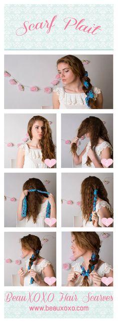 How to Wear a Headscarf in 4 Ways | Scarf Plait | How To Wear a Plait | by Beauxoxo #beauxoxo #hairaccessory #hairaccessories #headscarf #scarfplait #braid #plait #hairscarf