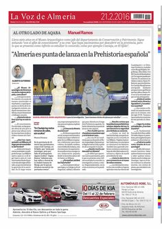 Entrevista a Manuel Ramos Lizana, Jefe del Departamento de Conservación e Investigación en el Museo de Almería.  La Voz de Almería (21.02.16)