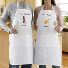 "Love this personalized his and hers apron set! 8 different designs, all with ""We go together like:""  Choose bacon & eggs, peanut butter & jelly, macaroni & cheese, rock & roll, burger & fries, milk & cookies, moon & stars, or syrup & pancake."