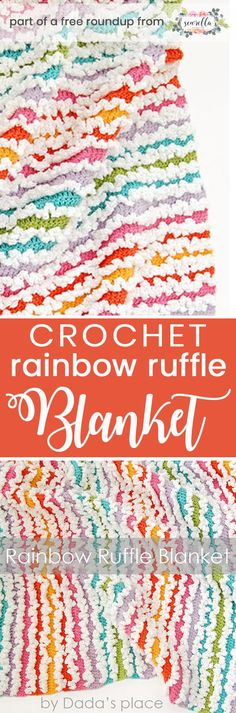 Get the free crochet pattern for this rainbow ruffle stripes baby blanket from Dada's Place featured in my gender neutral rainbow baby blanket FREE pattern roundup!