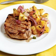 Pan grilled pork chops with grilled pineapple salsa