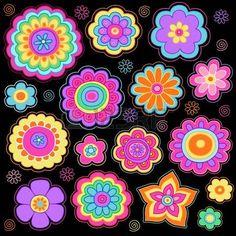 Groovy Flower Power psychédélique Hand Drawn éléments portables de conception Doodle Set sur fond rayé de papier à dessin, Illustration