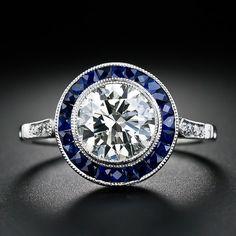 1.67 Carat Diamond and Calibre Sapphire Art Deco Engagement Ring - 10-1-4544 - Lang Antiques