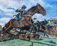 Horse Racing Painting By Bon Of Mikey Hamill on MAQUIRE'S GLEN (IRE) | eBay
