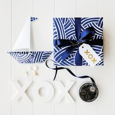 New Wrapco Weave Indigo gift wrap, printed on white matte paper. Perfect for the nautical Dad.