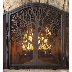 Small Tree Of Life Fireplace Fire Screen With Door, Black - Plow & Hearth