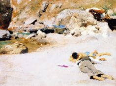 John Singer Sargent - two boys on a Beach with boats 1878