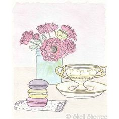 French Macaron Tea Time - Pink Flowers in Aqua - giclee print of... ($25) ❤ liked on Polyvore