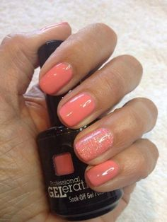 Stunning Manicure Ideas For Short Nails With Gel Polish That Are More Exciting Jessica GELeration Flirty with glitter accent. Created by TLC Beauty Therapy.Jessica GELeration Flirty with glitter accent. Created by TLC Beauty Therapy. Coral Gel Nails, Summer Gel Nails, Short Gel Nails, Peach Nails, Glitter Gel Nails, Winter Nails, Manicure And Pedicure, Manicure Ideas, Spring Nails