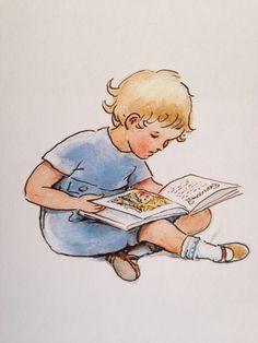 A Child Reading. Elsa Beskow, A Dance With Dragons, Vintage Children's Books, Vintage Stuff, Children's Book Illustration, Illustration Children, Book Images, Kids Reading, Best Artist