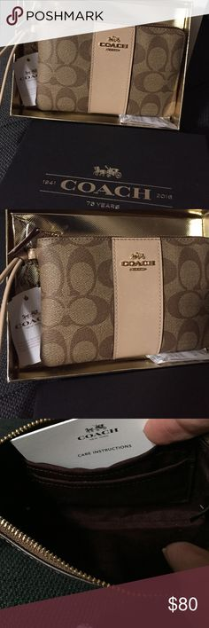 CLASSIC BEIGE LEATHER WITH SHIMMERING DESIGN COACH Classic Beige Leather Coach with some shimmering effect gold a wristlet that is perfect for a Gift this holiday love the color comes with a gift box very chic & so lovely❤️ Coach Bags Clutches & Wristlets