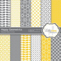 Digital Paper Pack in Mustard Yellow and Gray. Geometric Patterns  INSTANT DOWNLOAD  Commercial Use