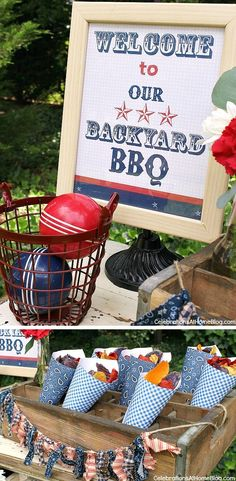 FREE printable sign - Set up a welcome table for your summer bbq and have snack cones filled with colorful chips.