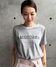 aquagirl(アクアガール)のAmericana ロゴデザインTシャツ(Tシャツ/カットソー) グレー Graphics, My Style, Mens Tops, T Shirt, Painting, Design, Women, Fashion, Moda