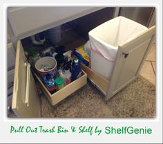 Make the most of even the smallest #cabinet with custom pull out #shelves, pull out #trash #bins and more, designed to fit your existing cabinets.
