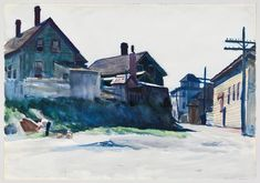"(Back Street, Gloucester), Edward Hopper, watercolor and graphite pencil on paper, 13 7/8 × 19 15/16"", Whitney Museum of American Art."